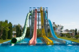 Water slides in aqua park